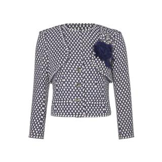 Chanel Blue & White Bamboo Tweed Structured Jacket w/ Camellia Brooch