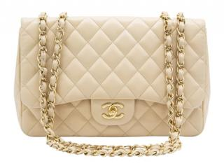 Chanel Beige Lambskin Jumbo Double Flap bag