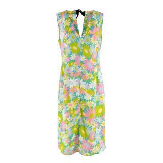 Marni Green, Pink & Yellow Floral Print Sleeveless Dress