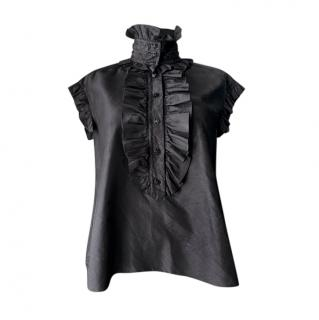 Chanel Black Silk High Neck Ruffled Blouse