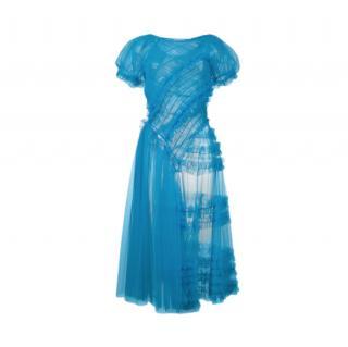 Molly Goddard Blue Barbara Sheer Tulle Blue Dress