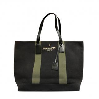 Saint Laurent Canvas & Leather Cabas Tote Bag