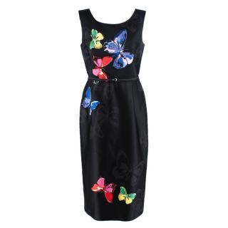 Marc Jacobs Butterfly Print Embellished Black Dress