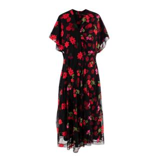 Simone Rocha Black & Red Embroidered Floral Tulle Dress