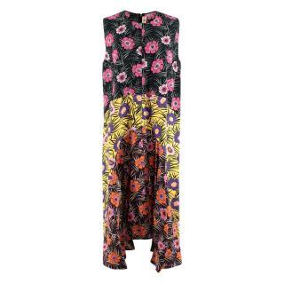 Marni Floral Colourblock Sleeveless Pleated Dress