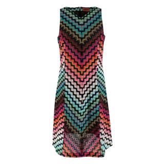 Missoni Multicoloured Chevron Knit Sleeveless Dress