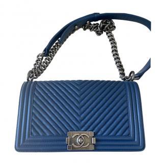 Chanel Blue Chevron Lambskin Medium Boy Bag