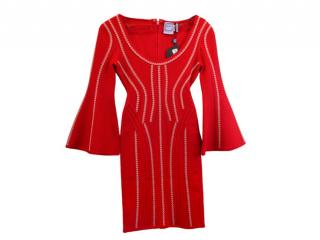 Herve Leger by Max Azria Red Knit Dress with Contrast Stitching
