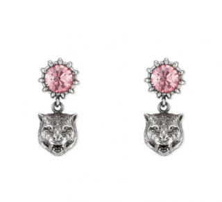 Gucci Angry Cat Head & Crystal Earrings