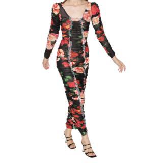 Molly Goddard Roma Black Floral Print Ruched Mesh Dress