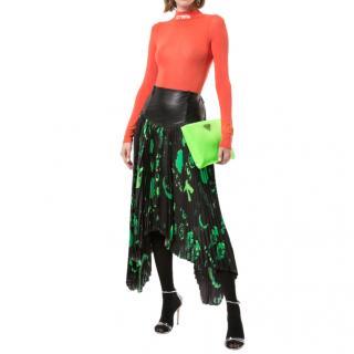 Marine Serre Black & Green Hieroglyphic Asymmetric Pleated Skirt