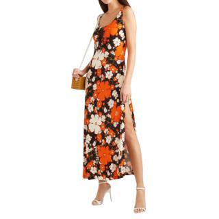 Miu Miu Lace-up Orange Floral Print Stretch-Jersey Maxi Dress