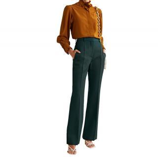 Victoria Victoria Beckham Green Wool Gabardine Tailored Pants