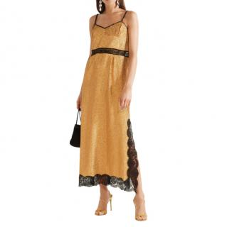 Gucci Gold Lame Lace trimmed Slip Dress