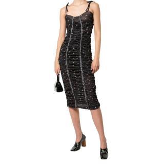 Molly Goddard Ruched Small Floral Print Black Dress