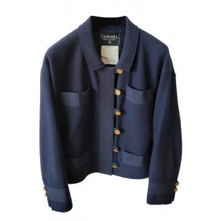 Chanel Vintage Navy Grosgrain Trimmed Tweed Jacket