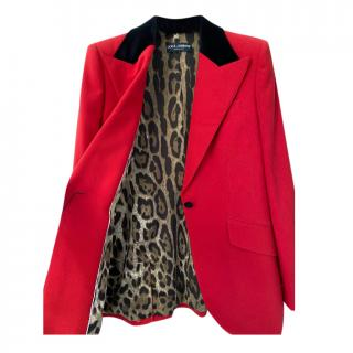 Dolce & Gabbana Red Tailored Jacket with Leopard Print Lining