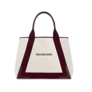 Balenciaga Burgundy Medium Cabas Tote Bag