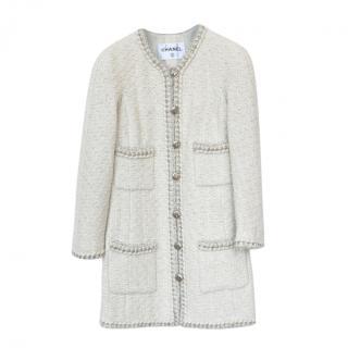 Chanel Ecru Tweed Chain Trimmed Longline Jacket