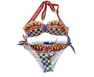 Dolce & Gabbana Caretto Print Halterneck Bikini
