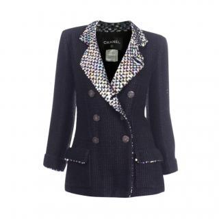Chanel Paris/Shanghai Black Silk & Wool Blend Embellished Tweed Jacket