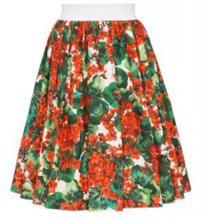 Dolce & Gabbana Geranium Print A-Line Skirt