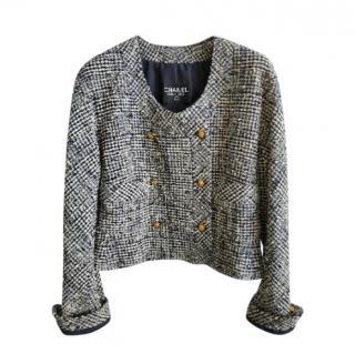 Chanel Vintage Navy/Ecru Houndstooth Tweed Cropped Jacket