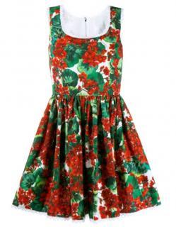 Dolce & Gabbana Geranium Print Cotton Sun Dress