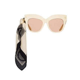 Linda Farrow cream oversize dunaway sunglasses