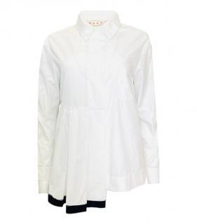 Marni Contrast Pleated Gem Oversize Cotton Shirt