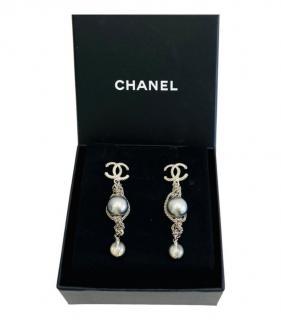 Chanel Faux Pearl CC Chain Drop Earrings