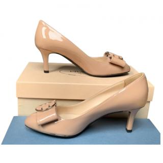 Prada Nude Patent Leather Bow Detail Pumps