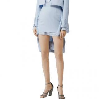 Burberry Pale Blue Step Through Pencil Skirt