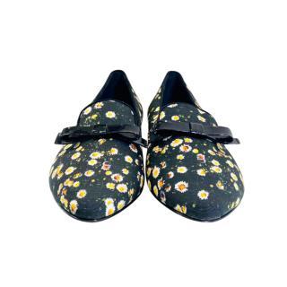 Moschino Cheap & Chic Black Floral Print Ballerinas