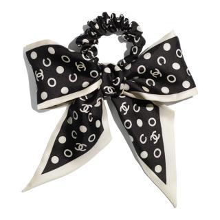 Chanel Silk Polka Dot CC Twilly & Hairband