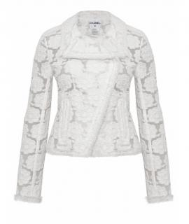 Chanel White Camellia Embroidered Sheer Cotton Jacket