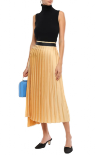 Victoria Victoria Beckham Asymmetric pleated twill midi skirt