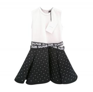 Balmain Studded Black & White Girls 6 Years Skater Dress
