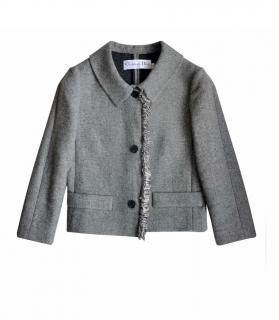 Dior Grey Wool Fringed Trim Jacket