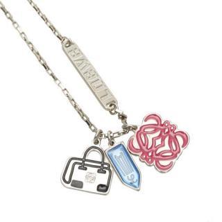 Loewe Silver Tone Anagram Logo Charm Necklace