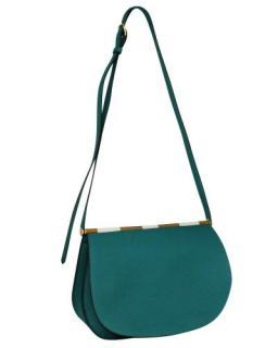 Hermes Blue Clemence Leather Saut 25 Shoulder Bag