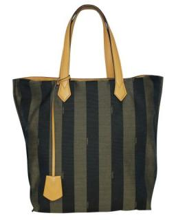 Fendi Leather Trimmed Pequin Canvas Tote Bag