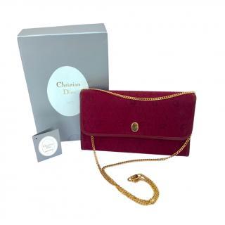 Christian Dior Vintage Honeycomb Monogram Burgundy Shoulder Bag