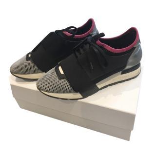 Balenciaga Black/Silver Race Runner Sneakers