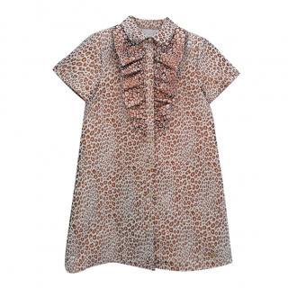 Roberto Cavalli Junior 10Y Animal Print Ruffle Front Dress