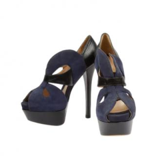Fendi Two-Tone Suede & Leather Cut-Out Pumps