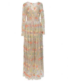 Monique Lhuillier 3D Floral Embroidered Dress