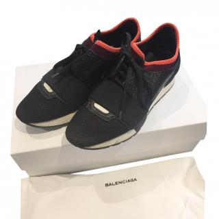 Balenciaga Black Mesh & Leather Race Runner Sneakers