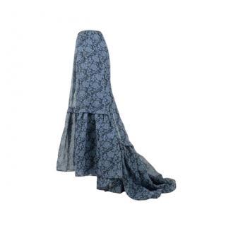Erdem Blue Floral Lace Embroidered Amanda Skirt