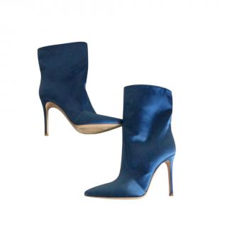Gianvito Rossi Blue Satin Melanie Ankle Boots